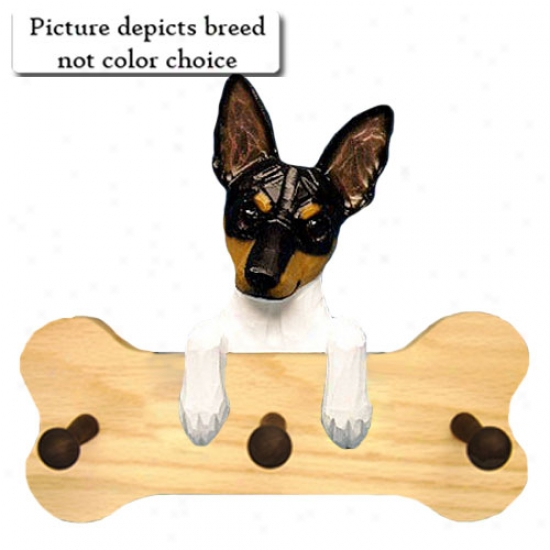 Red And White Toy Fox Terrier Bone Hang Up Natural Oak