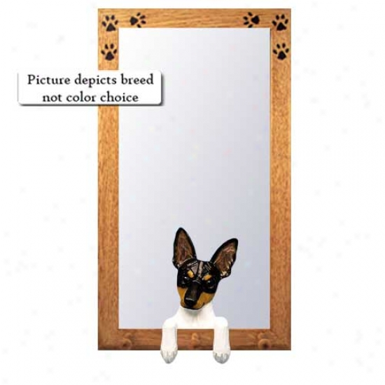 Red And White Toy Fox Terrier Hall Reflector With Oak Golden Frame