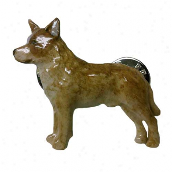 Red Australian Cattle Dog Hand Painted Pin