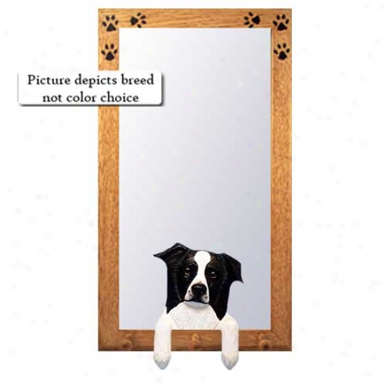 Red Border Collie Hall Mirror With Oak Natural Frame