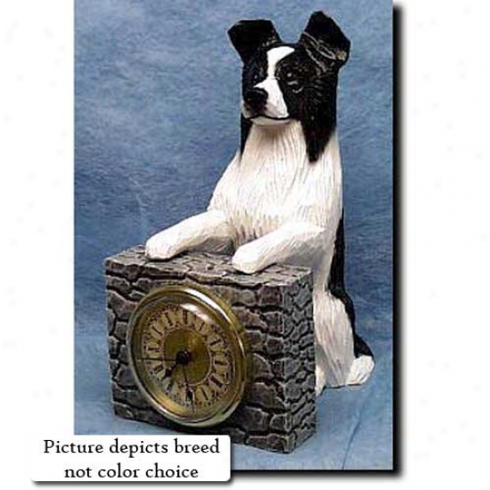 Red Border Collie Mantle Clock