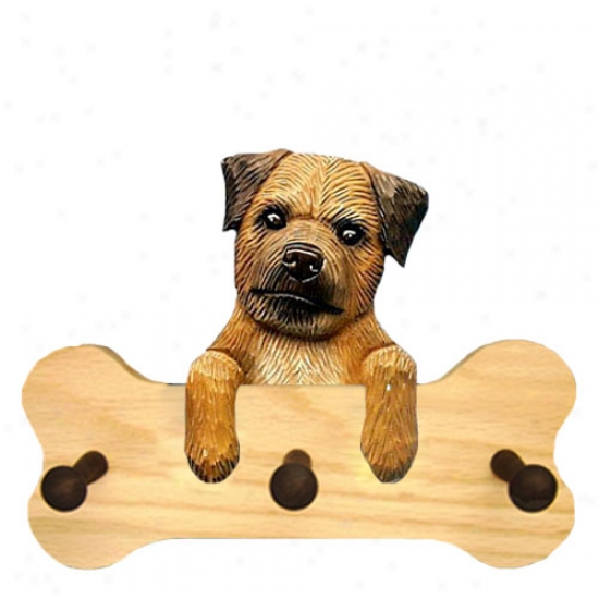 Red Border Terrier Bone Hang Up Natural Oak