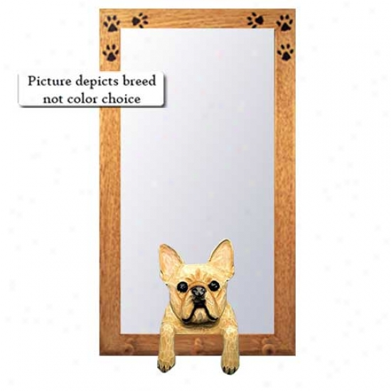 Red Brindle French Bulldog Hall Mirror With Basswood Walnut Frame