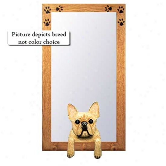 Red Brindle French Bulldog Hall Mirror With Oak Natural Frame
