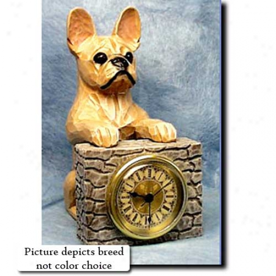 Red Brimdle French Bulldog Mantle Clock