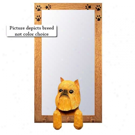 Red Brussels Griffon Hall Mirror With Basswood Walnut Frame
