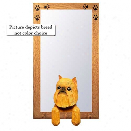 Red Brussels Griffon Hall Mirror Wit hOak Natural Frame
