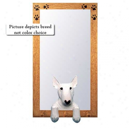 Red Bull Terrier Hall Mirror With Oak Golden Frame