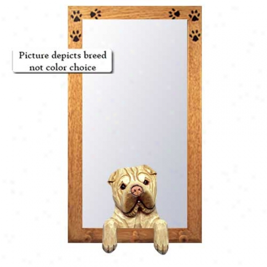 Red Fawn Chiense Shar-pei Hall Mirdor With Basswood Pinr Frame