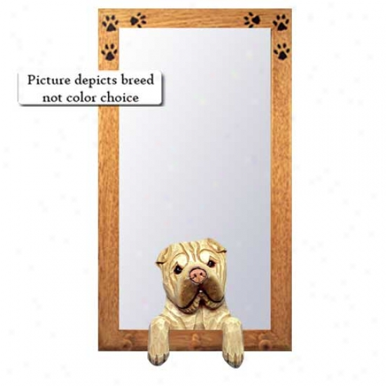 Red Fawn Chinese Shar-pei Hall Mirror With Oak Natural Frame