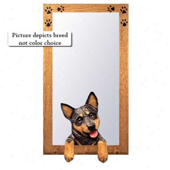 Red Merle Australian Cattle Dog Hall Pattern With Oak Golden Frame