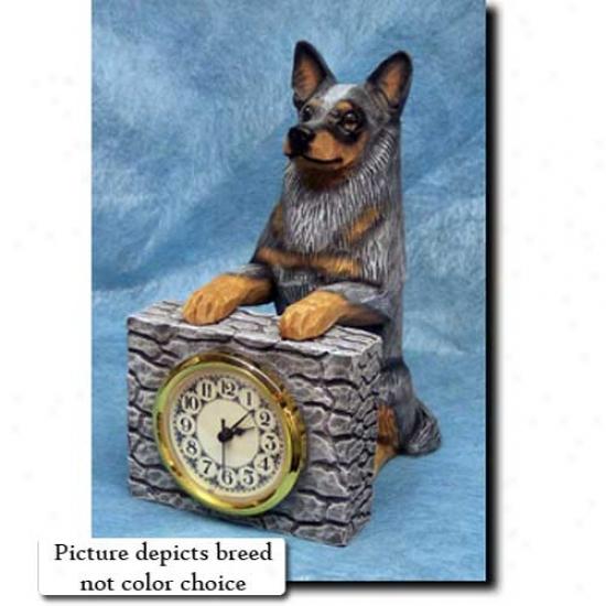 Red Merle Auztralian Cattle Dog Mantle Clock