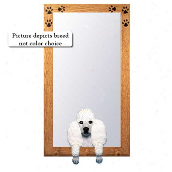 Red Poodle Hall Mirror With Basswood Pine Frame