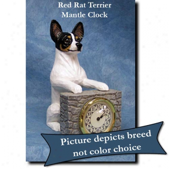Red Rat Terrier Mantle Clock