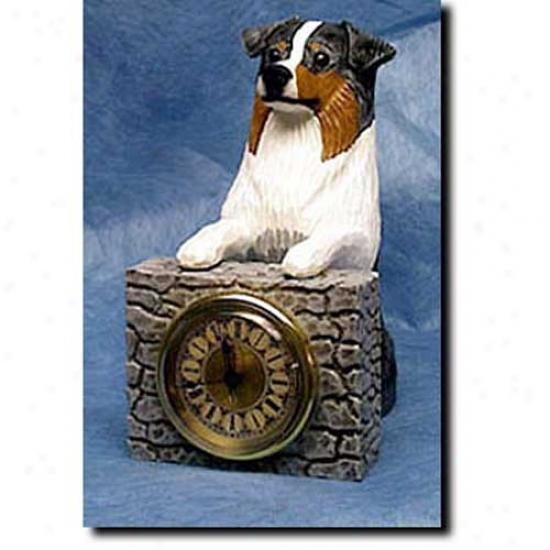 Red Tri Australian Shepherd Mantle Clock