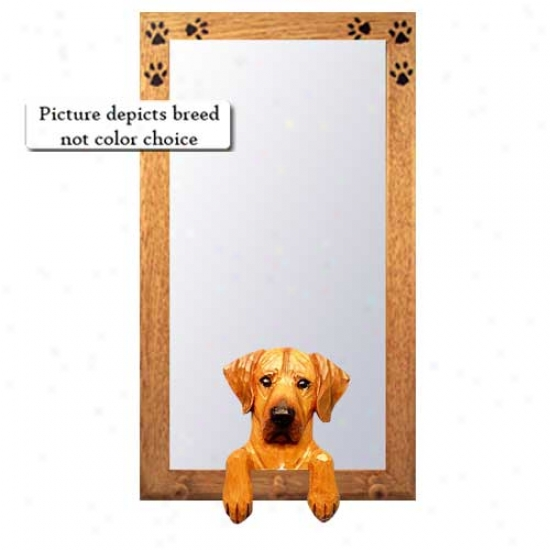 Rhodesian Ridgeback Hall Mirror With Oak Golden Frame