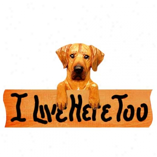 Rhodesian Ridgeback I Live Here Too Maple Finish Sign