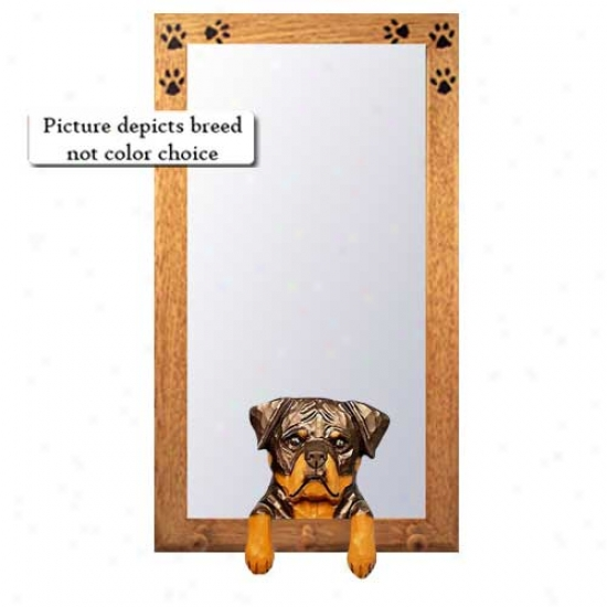 Rottwekler Halp Mirror With Oak Natural Frame