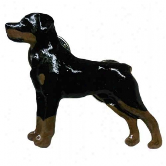 Rottweiler Hand Painted Pin