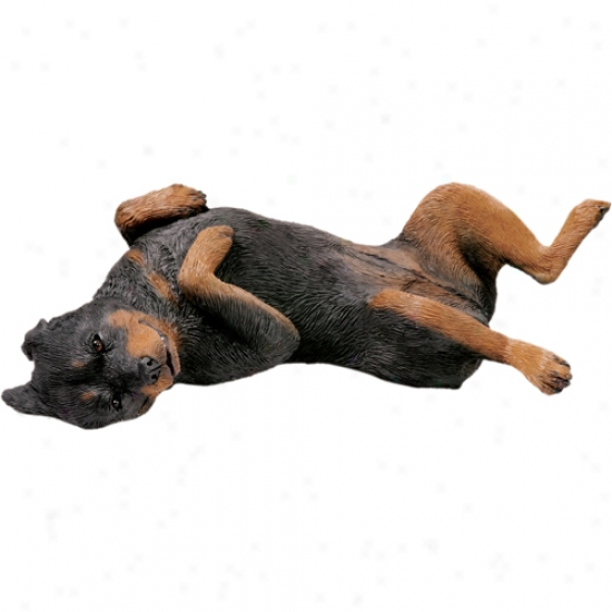 Rottweiler (lying Back) Original Size Sculpture By Sandicast
