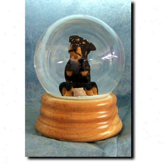 Rottweiler Musical Snow Globe