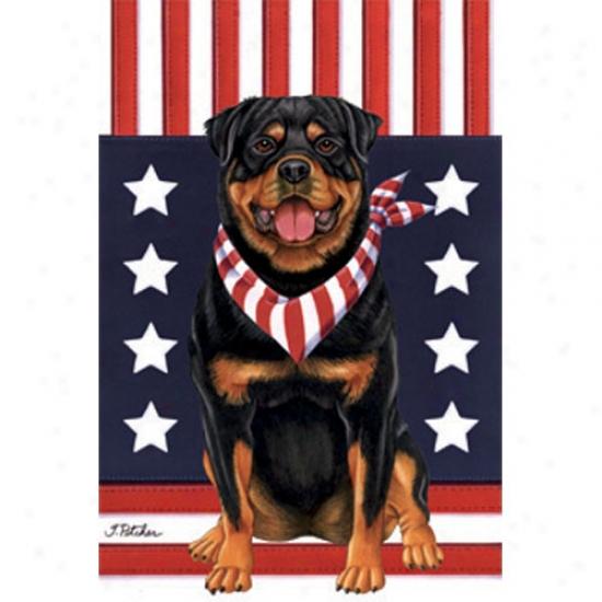 Rottweiler Patriotic Breed Garden Flag