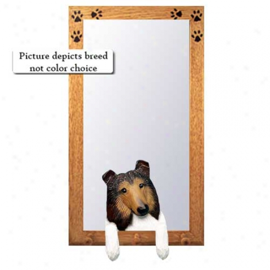 Sable Rough Collie Hall Mirror With Oak Golden Frame