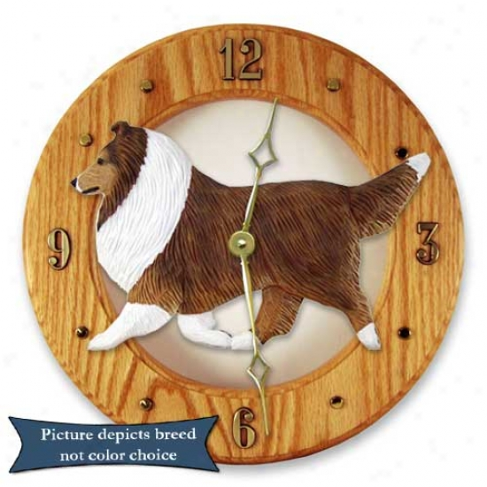 Zibelline Shetland Sheepdog Wall Clock In Unilluminated Oak By Michael Park