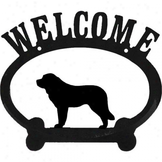 Saint Bernard Metal Welcome Sign