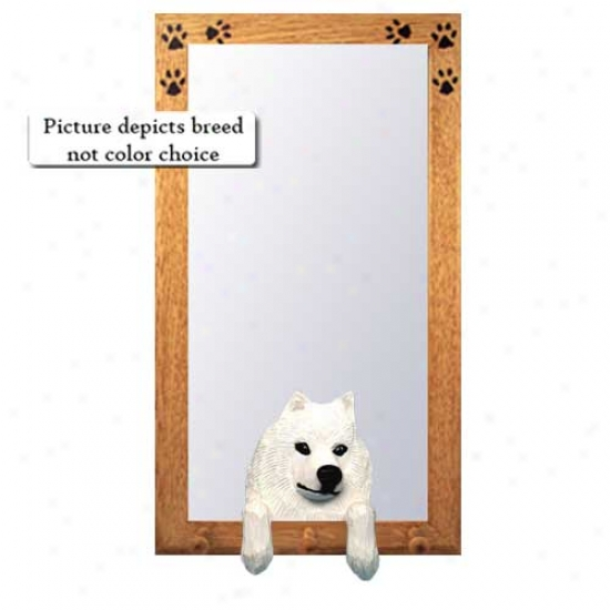Samoyed Hall Mirror With Basswood Pine Invent