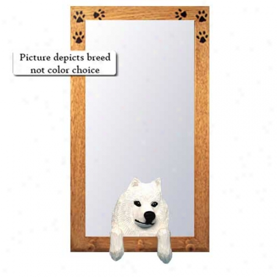 Samoyed Hall Mirror With Basswoor Walnut Frame
