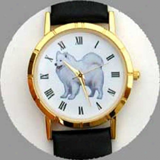 Samoyed Watch - Small Visage, Black Leather