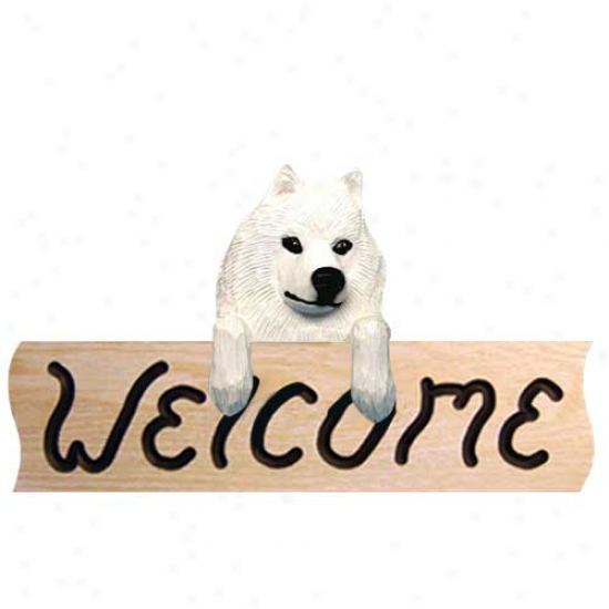 Samoyed Welcome Sign Oak