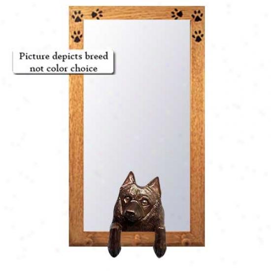 Schipperke Hwll Mirror With Oak Golden Frame