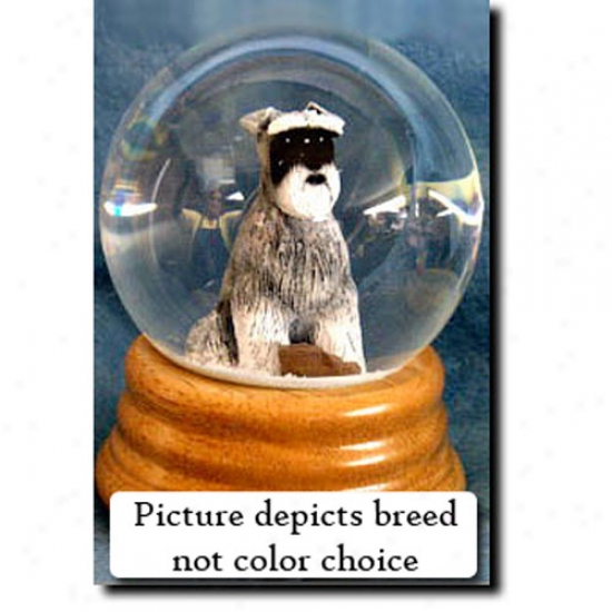 Schnauzer (white) Musical Snow Globe - Natural
