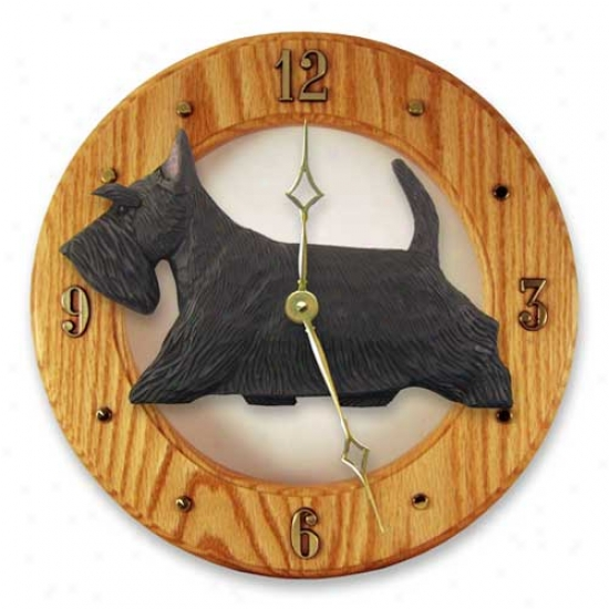 Scottish Terrier Wall Clock In Light Oak By Michael Park