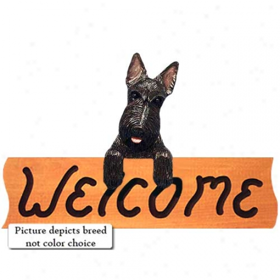 Sottish Terrier Wheaten Welcome Sign Maple