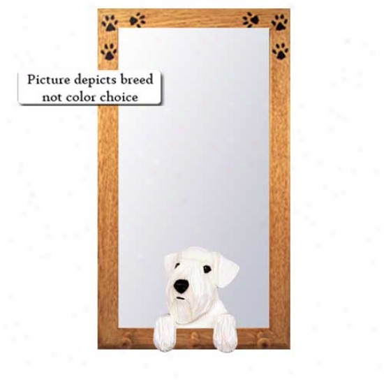 Sealyham Terrier Hall Mirror Upon Oak Golden Skeleton