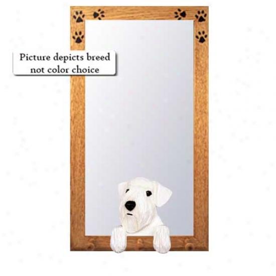 Sealyham Terrier Hall Mirror Upon Oak Golden Skeleton
