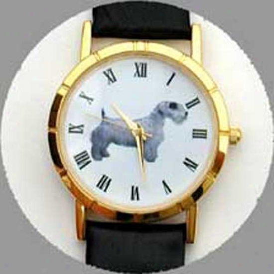 Sealyham Terrier Watch - Small Face, Black Leather