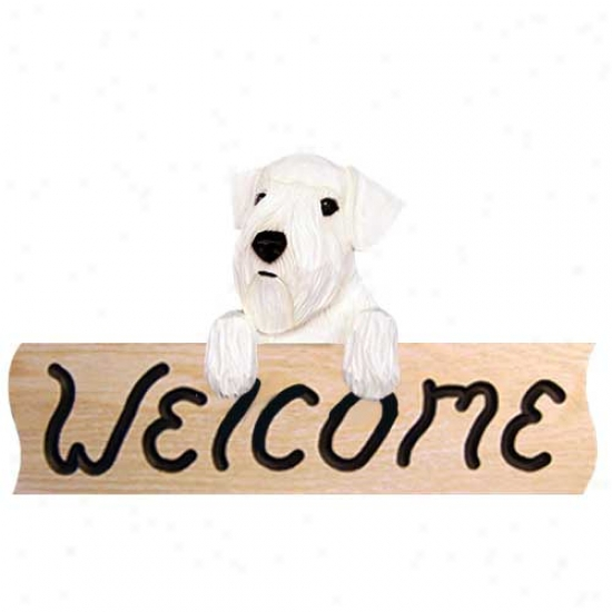 Sealyham Terrier Welcome Sign Oak