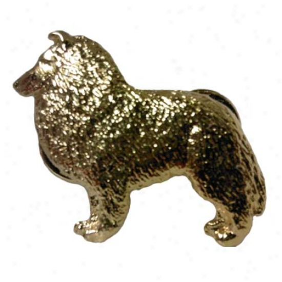 Shetland Sheepdog Pin 24k Gol dPlated