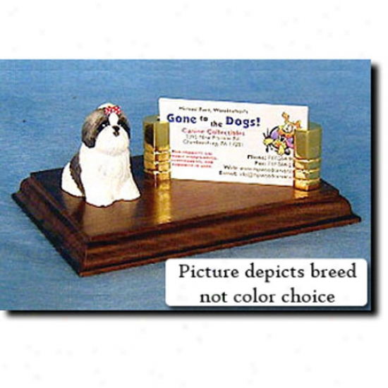 Shih Tzu (gold And White) Business Card Holder
