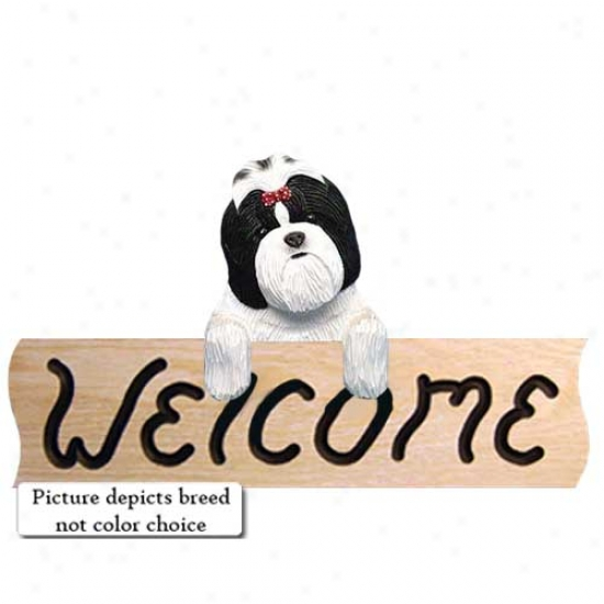 Shih Tzu Gold And White Welcome Sign Oak