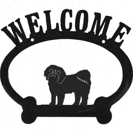 Shih Tzu Metal Welcome Sign