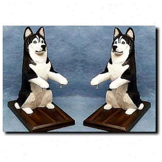 Siberian Husky Bookends Black And White
