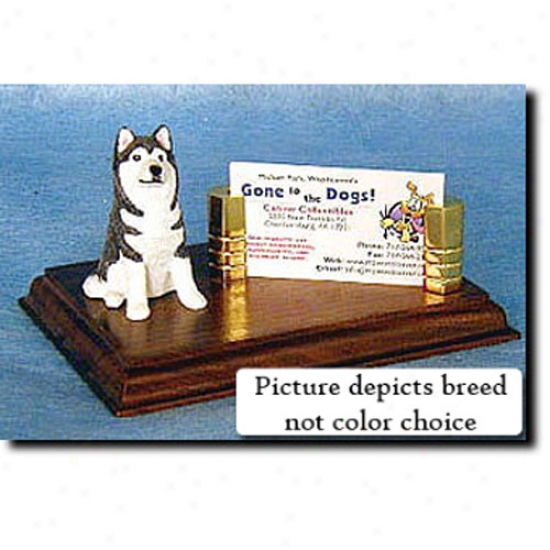 Siberian Husky (grey And White) Business Card Holder