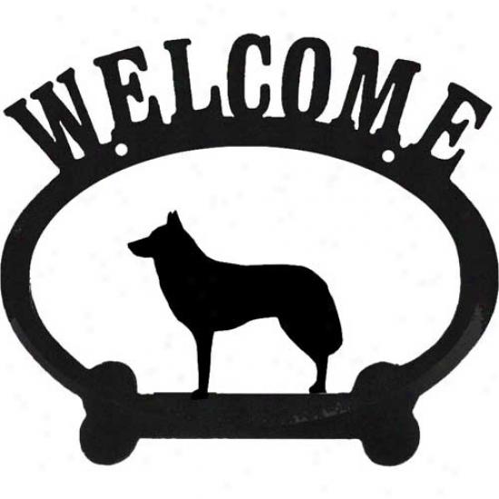 Siberian Husky Metal Welcome Sign
