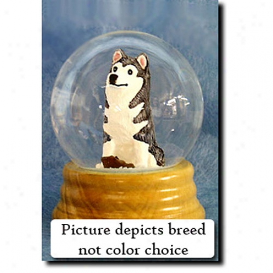 Siberian Husky (red And White) Melodious Snow Globe