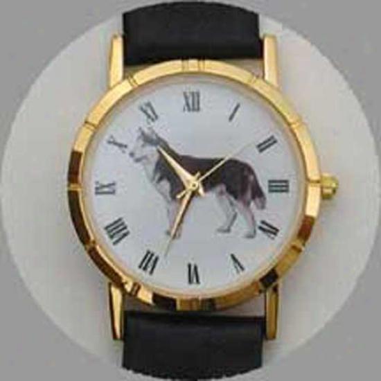 Siberian Husky Watch - Large Face, Black Leather